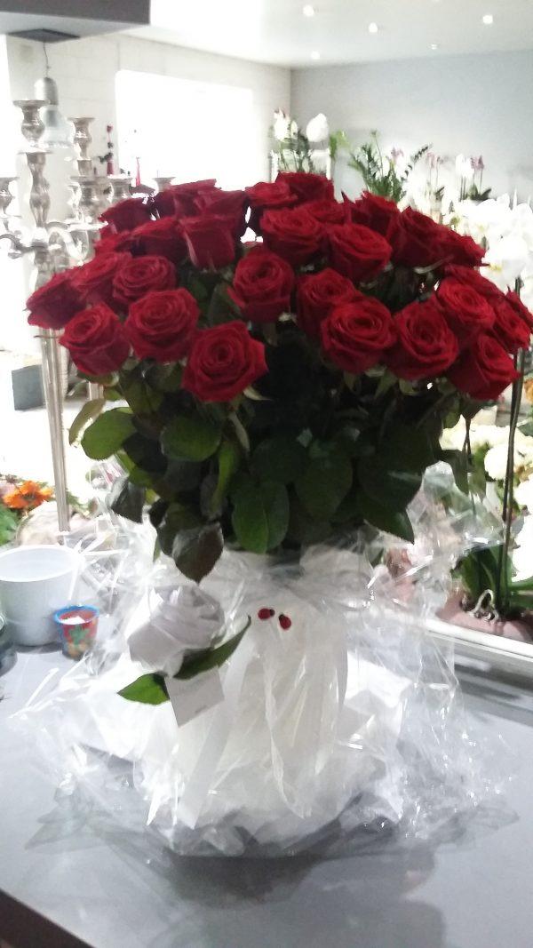 Bouquet longues tiges de roses